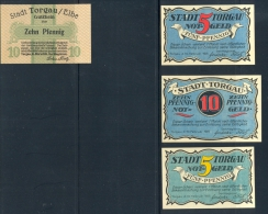 Torgau-Notgeldscheine, Kassenfrisch, 1920/1921 1x 10 Pf.,-31.3.1920, 1x 10 Pf., 10.2.1921, 2x 5Pf. 10.2.1921 Zustand. S - Banknoten
