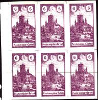 POLAND 1918 ZARKI Local Forgery Fi 7 Block Of 6 - ....-1919 Übergangsregierung