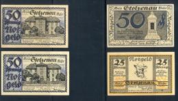 Kreis Stolzenau Weser- Notgeldscheine, Kassenfrisch, 1921 1x 25 Pf.,-30.34.1921, 3x 50 Pf., 30.4.1921,  Zustand. Sehr Gu - Banknoten