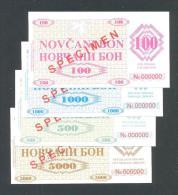 BOSNIA - BOSNIEN UND HERZEGOWINA, 100, 500,1000 & 5000 Dinara 1992 UNC *SPECIMEN* No. 000000,Handstamp:FILIJALA SARAJEVO - Bosnien-Herzegowina