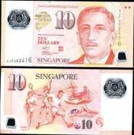 SINGAPORE 10 DOLLAR POLYMER 2013 WITH 2 DIAMONDS AT BACK UNc - Singapore