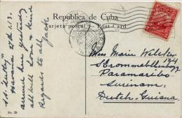 "Cuba 1914 Picture Postcard ""Habana - Plaza De Armas"" With 2 Cent. Gomez From Habana To Paramaribo (Dutch Guyana) - Brieven En Documenten"