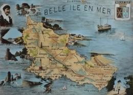 56 - Cpsm Grand Format -   BELLE - ILE - EN - MER - Carte Géographique - Belle Ile En Mer