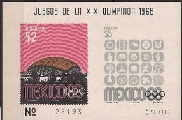 1968 Mexiko Mi. Bl. 16**MNH - Summer 1968: Mexico City