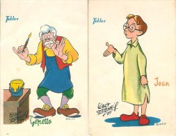 Lot De 2 Cartes  Pub Tobler : Gepetto Et Jean - Disney