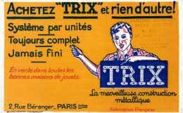 """Buvard  Achetez """" TRIX """" Et Rien D´autre ! Cachet Bazar A.Gras, 269 Route D´heyrieux à Lyon. - Löschblätter, Heftumschläge"""