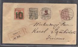 POLOGNE 1919 N° 61 & 62 + Valeurs Courantes Obl. S/Lettre Entiére Recommandée Signé (rare) - ....-1919 Provisional Government