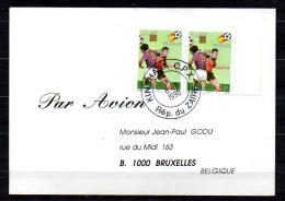 Lettre FOOTBALL Coupe Du Monde  « Espana'82 », 1100 Surcharge Renversée En Paire, - Zaïre