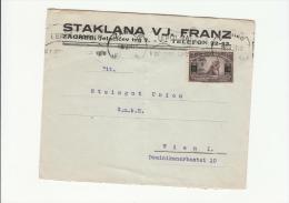 DC688-1924 Umschlag ZAGREB-WIEN-1 Marke Aufgedr. 3 Din - 1919-1929 Königreich Der Serben, Kroaten & Slowenen