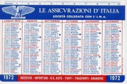 Calendarietto - Le Assicurazioni D'italia - Società Collegata Con L'i.n.a. - 1972 - Calendari