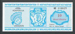 KROATIEN - CROATIA: 10 Dinara ND 1990 UNC , VIS KONFEKCIJA - VARAZDIN  COMMODITY BON - Bosnien-Herzegowina
