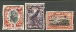 Tonga  1923   Sc#63, 68-9   3 Surcharges   MH*   2016 Scott Value $39.60 - Tonga (...-1970)
