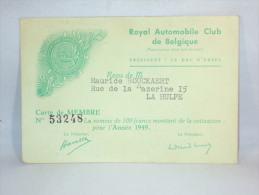 Carte De Membre. Royal Automobile Club De Belgique. 1949. - Bélgica