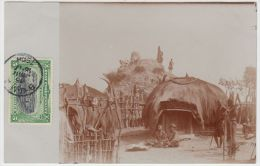 18845g CONGO BELGE - ETHNOGRAPHIQUE - Intérieur Village Indigène - Katanga - 1909 - Carte Photo - Congo Belge - Autres