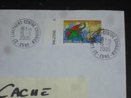 ETREPAGNY CENTRE COURRIER - EURE - CACHET ROND MANUEL SUR YT 3791 - JULES VERNE DINOSAURE ECRIVAIN LITTERATURE - - Postmark Collection (Covers)