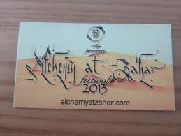 "Carte De Visite ""alchemy At Zahar - Festival 2013"" Marrakech MAROC - Visiting Cards"