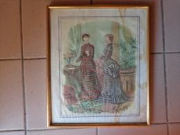 Cadre Dore Avec Photo Dames----beaux Vetements-signe Anais Coudouge-belle Epoque-33x28 - Art Populaire