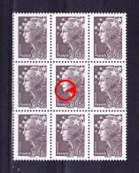 Variété D´impression Sur Yvert N° 4227 - Marianne De Beaujard - Etat Neuf ** - Tâche Sous Le Menton - TP Dans Bloc De 9 - 2008-13 Marianne (Beaujard)