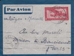 INDOCHINE - 1937 - ENVELOPPE ENTIER POSTAL Par AVION De SAÏGON Pour PARIS Via MARSEILLE - Indochine (1889-1945)
