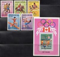 Haute Volta 1976 Mi#617-621 + Block, Olympic Games - Obervolta (1958-1984)