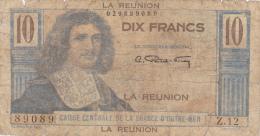 REUNION .10 FRANCS  COLBERT   .série Z.12 - N°89089 . CAISSE CENTRALE DE LA FRANCE D´OUTRE-MER - Reunion