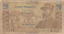 REUNION .20 FRANCS  EMILE GENTIL    .série C.11 - N°32169 . CAISSE CENTRALE DE LA FRANCE D´OUTRE-MER - Reunion