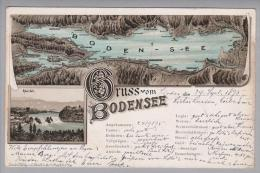 Motiv Landkarten Bodensee/Rheinfall 1895-09-24 Vogelperspektive Lithokarte - Cartes Géographiques