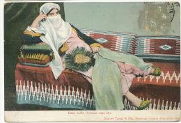 Dame Arabe Syrienne Chez Elle Voile Dimitri Tarazi Beyrouth Stamp Removed  - Líbano