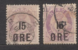 Norway 1908 Mi#70 A And B Used - Norvège