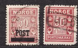 Norway 1929 Mi#148 And Porto Stamp Mi#6 I A Used