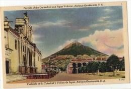 Linen Postcard, Facade Of The Cathedral And Agua Volcano, Antigua, Guatemala  (ref.#- 2736se) - Guatemala