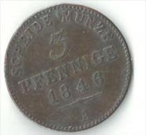 Scheidemünze Fürstenthum Schwarzburg-Sondershausen Thüringen 3 Pf. 1846 - Piccole Monete & Altre Suddivisioni