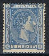 Sello Fiscal, Impuesto De Ventas Alfonso XII, 5 Cts * - Fiscaux