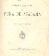 FEDERALIZACION DE LA PUNA DE ATACAMA - MINISTERIO DE INTERIOR AÑO 1900 - REPUBLICA ARGENTINA BUENOS AIRES COMPAÑIA SUD- - Geography & Travel