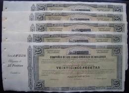 LOTE DE 5 ACCIONES - COMPAÑIA FERROCARRILES DE MALLORCA - OBLIGACION DE 25 PTS - Chemin De Fer & Tramway
