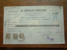 Quittance - Reçu La Sécurité Française PARIS / Bruxelles / 1928 ( D'Assurances ) ! - Wechsel