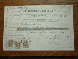 Quittance - Reçu La Sécurité Française PARIS / Bruxelles / 1929 ( D´Assurances ) ! - Lettres De Change