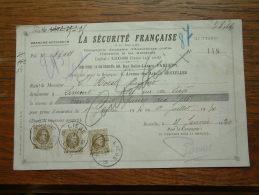 Quittance - Reçu La Sécurité Française PARIS / Bruxelles / 1930 ( D´Assurances ) ! - Lettres De Change