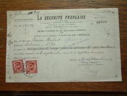 Quittance - Reçu La Sécurité Française PARIS / Bruxelles / 1932 ( D´Assurances ) ! - Wechsel