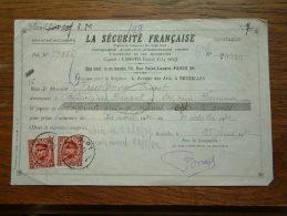 Quittance - Reçu La Sécurité Française PARIS / Bruxelles / 1932 ( D´Assurances ) ! - Lettres De Change