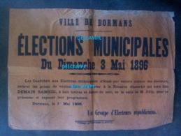 Affiche Ancienne - 1896 - DORMANS ( Marne ) - Elections Municipales - Électeurs Républicains - Politique - Historische Dokumente