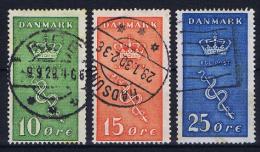 Denmark, 1929, Mi 177 - 179  Used - 1913-47 (Christian X)