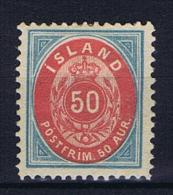 Iceland: 1892  Mi 16 B   MH/* - Nuevos