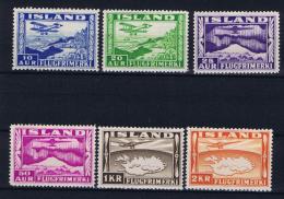 Iceland: 1934  Mi 175 - 180  MNH/**  - MH/*, 176 A - Luchtpost