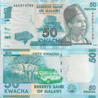 Malawi P-New 50 Kwacha, Fish / Elephant, Safari Vehicle In Nati'l Park, AAprefix - Malawi