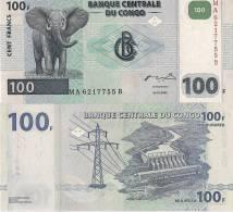 Congo P92, 100 Francs, Bull Elephant / Hydro-electric Dam $15 CV!! - Congo