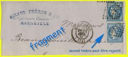 N° 46A + 45C CÉRÈS ÉMISSION DE BORDEAUX 1870 - OBLITÉRÉS ST / B SUR FRAGMENT DE MARSEILLE - 21 AVRIL 1871 - - Postmark Collection (Covers)