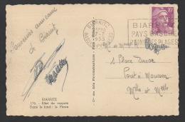 DF / FRANCE SUR CARTE POSTALE / TP 811 TYPE MARIANNE DE GANDON / OBLET FLAMME BIARRITZ 27 -7 1953 BASSES-PYRENNEES - 1945-54 Marianna Di Gandon
