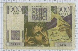 500 Francs Chateaubriand, Ref Fayette 34-12, état TB - 1871-1952 Gedurende De XXste In Omloop