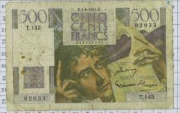 500 Francs Chateaubriand, Ref Fayette 34-12, état TB - 1871-1952 Circulated During XXth